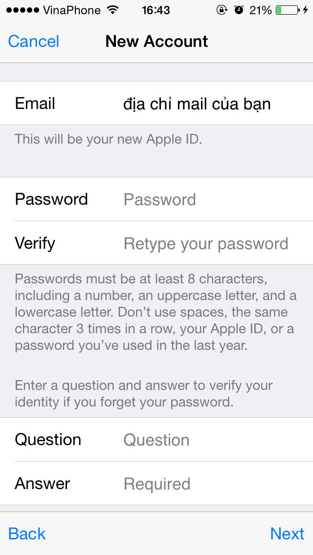 Cách tạo id apple free trên ios - 12