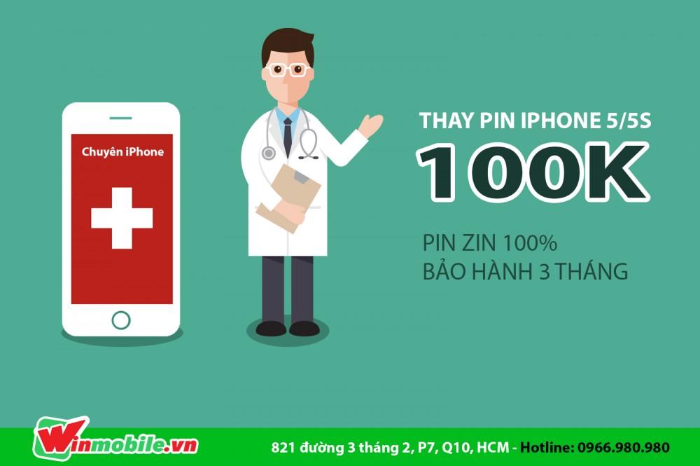 Thay pin iphone 55s giá 100k chỉ có tại winmobilevn - 1