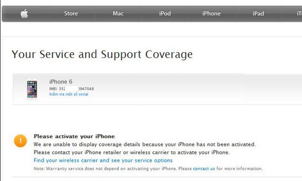 Kiểm tra bảo hành iPhone thông qua thông số IMEI